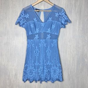 Bebe sheer lace mesh mini dress blue 6